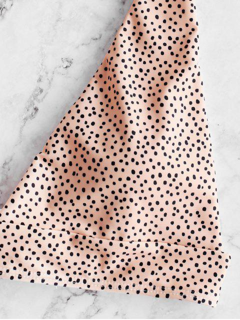 hot ZAFUL Polka Dot Tie Back Bikini Set - DEEP PEACH S Mobile