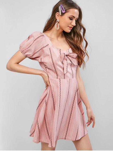 womens ZAFUL Sweetheart Neck Cherry Striped Knotted Mini Dress - LIPSTICK PINK L Mobile