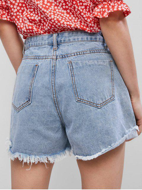women's Ripped Frayed Hem Pocket Denim Shorts - JEANS BLUE XL Mobile