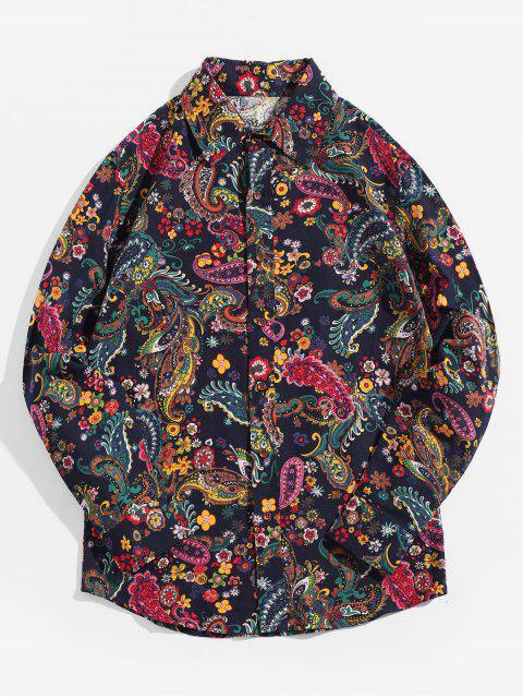 Chemise boutonnée à manches longues imprimée ethnique Paisley Ditsy - Bleu profond XL Mobile