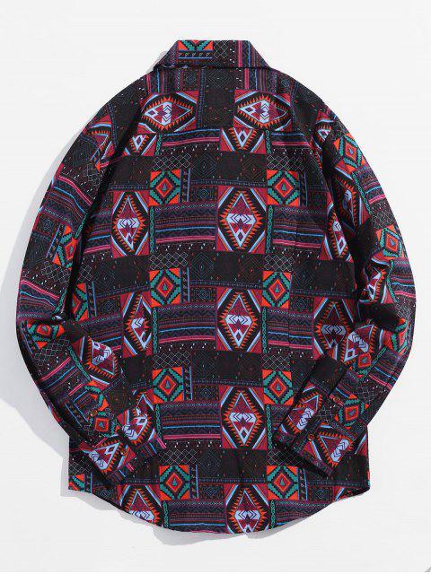 Chemise décontractée boutonnée à motif géométrique ethnique - Noir Profond 2XL Mobile