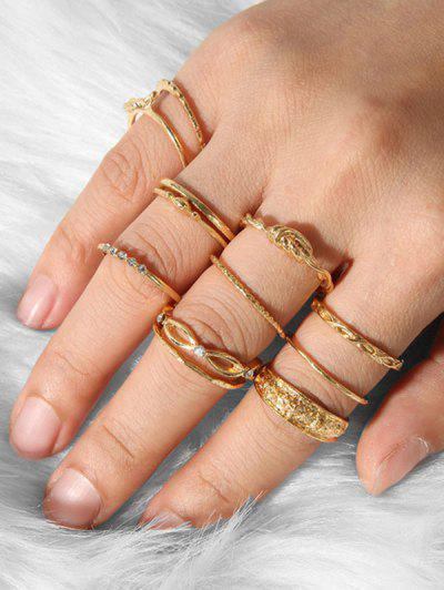 Imagem de 12Pcs Carved Knot Rhinestone Ring Set