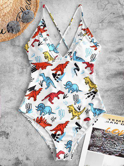 6aa38a985287e ZAFUL Crisscross Dinosaur Print One-piece Swimsuit - White L ...