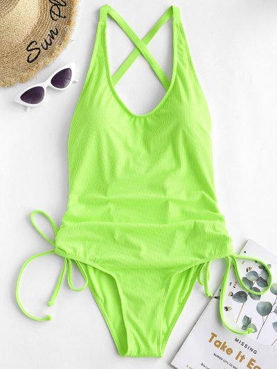 ZAFUL Ribbed Backless Cinched Tummy Control Swimsuit - Green Yellow S