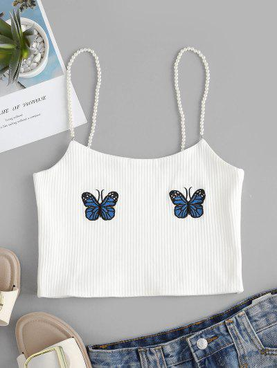 Faux Pearl Ribbed Butterfly Embroidered Cami Top - White M