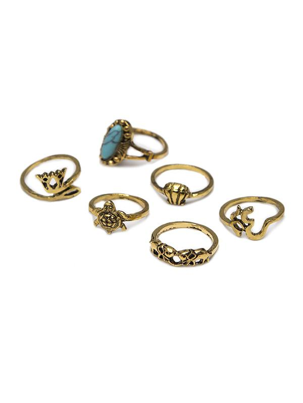 6 Piece Ethnic Crown Turtle Shell Elephant Ring Set
