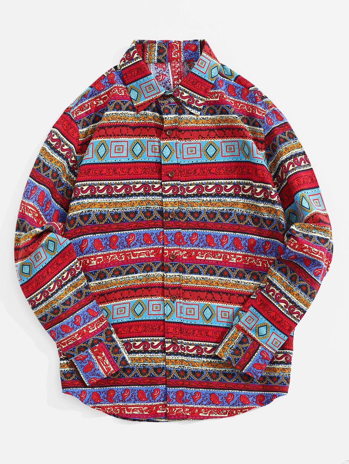Geometrico Floreale Paisley Stampa Tribale Maniche Lunghe Camicia