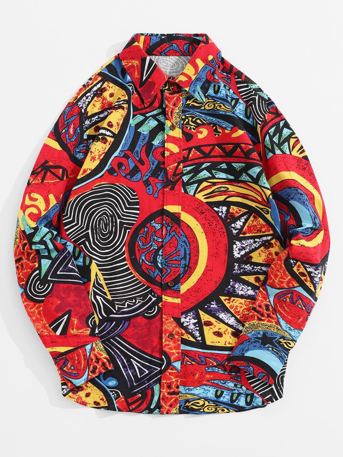 Ethnique Et Tribal Coloré De La Peinture Print Casual Bouton De Chemise