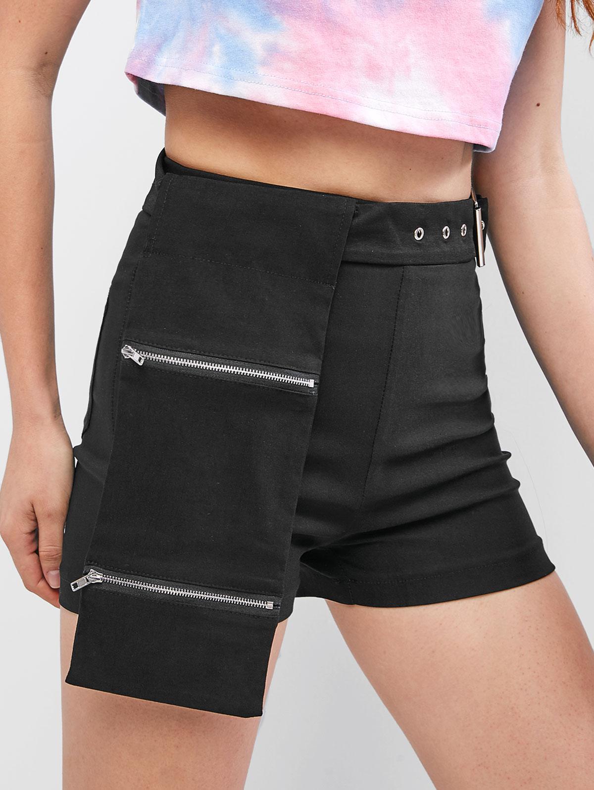 Tasche Con Cerniera Con Cintura Tinta Pantaloncini