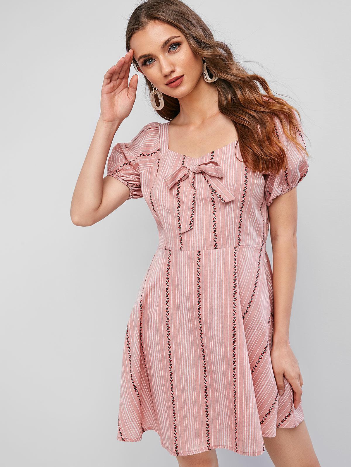 ZAFUL Sweetheart Neck Cherry Striped Knotted Mini Dress thumbnail