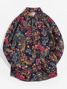 بيزلي العرقية طباعة قميص طويل الأكمام زر القميص - ازرق غامق L