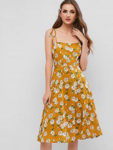 ZAFUL الأزهار Smocked التعادل الكتف اللباس الشق - الذهب البرتقالي S
