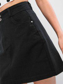 fa076d49a5f951 Mini Jupe Zippée à Taille Haute en Denim