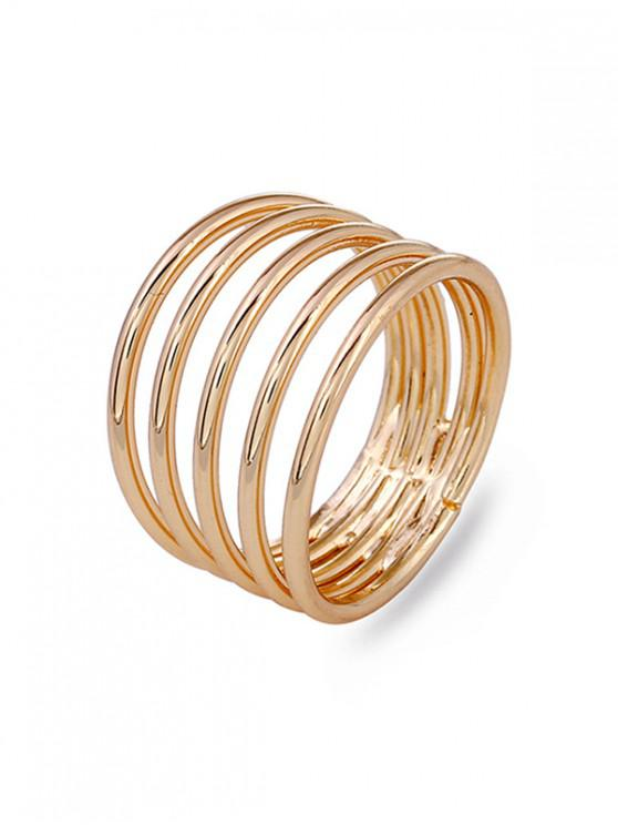 womens Spring Swirl Spiral Wide Flexible Finger Ring - GOLD