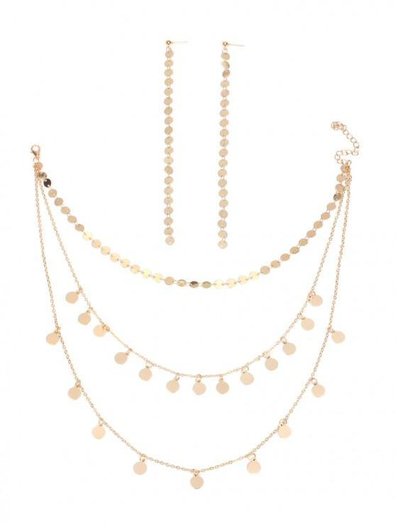 affordable Multi-layer Sequins Necklace And Long Drop Earrings - GOLD