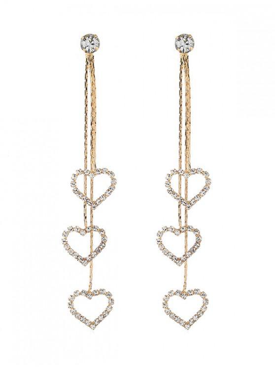 Pendientes con borlas de diamantes de imitación de Love Heart - Oro