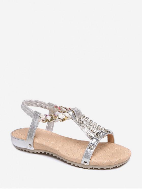 women Rhinestone Decorated Flat Heel Elastic Sandals - SILVER EU 38