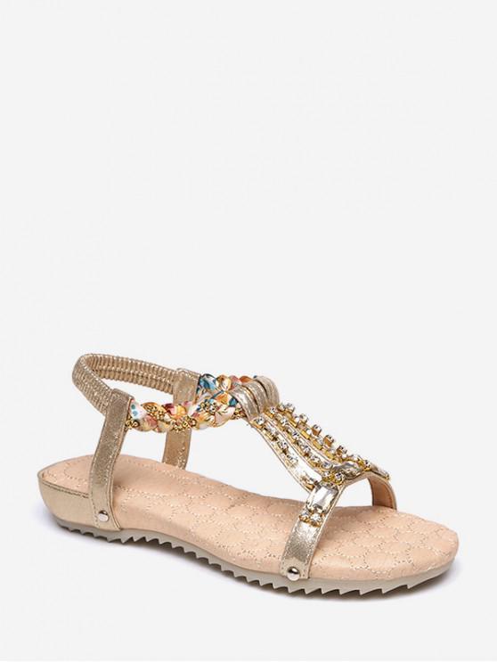 outfit Rhinestone Decorated Flat Heel Elastic Sandals - GOLD EU 38