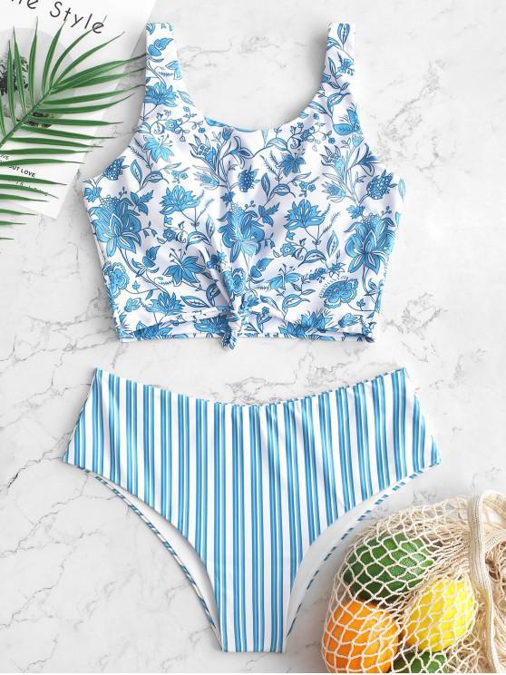 womens ZAFUL Flower Striped Print Knotted Tankini Swimsuit - JEANS BLUE XL