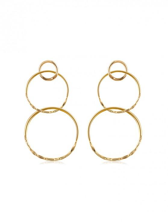 fancy Alloy Layered Round Earrings - GOLD