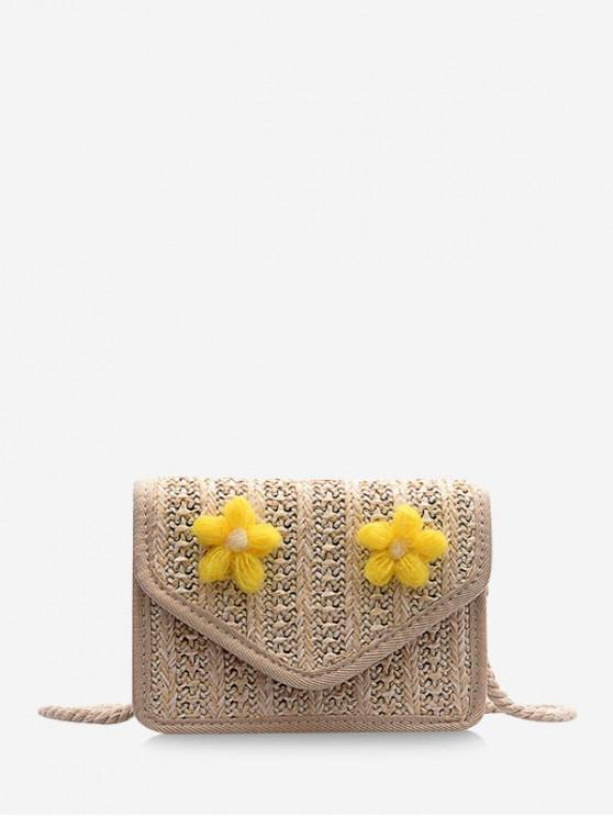 buy Floral Cover Rope Crossbody Bag - YELLOW