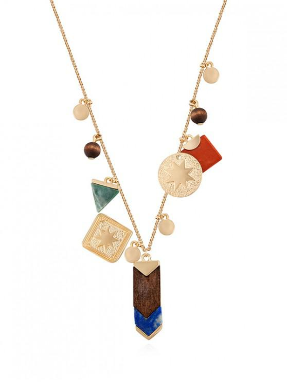 outfit Eight Star Geometric Wooden Bead Charm Necklace - GOLD