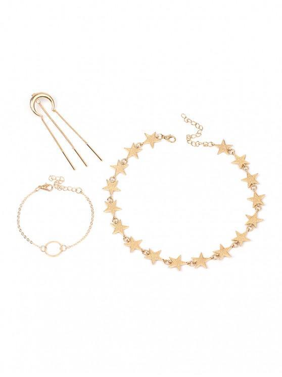 sale Alloy Moon Star Circle Tassel Jewelry Set - GOLD