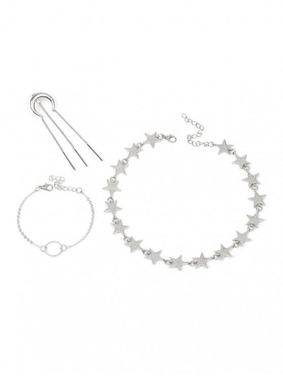 womens Alloy Moon Star Circle Tassel Jewelry Set - SILVER