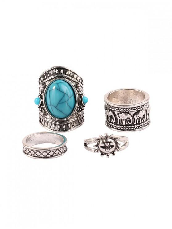 outfits Four-piece Retro Turquoise Wide Ring Set - SILVER