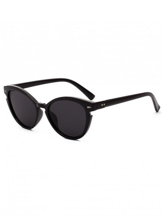 unique Vintage Catty Eye Round Sunglasses - BLACK