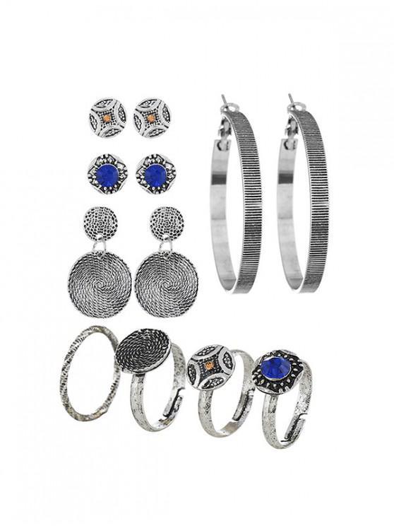 ladies Retro Hoop Round Stud Earrings And Ring Set - SILVER