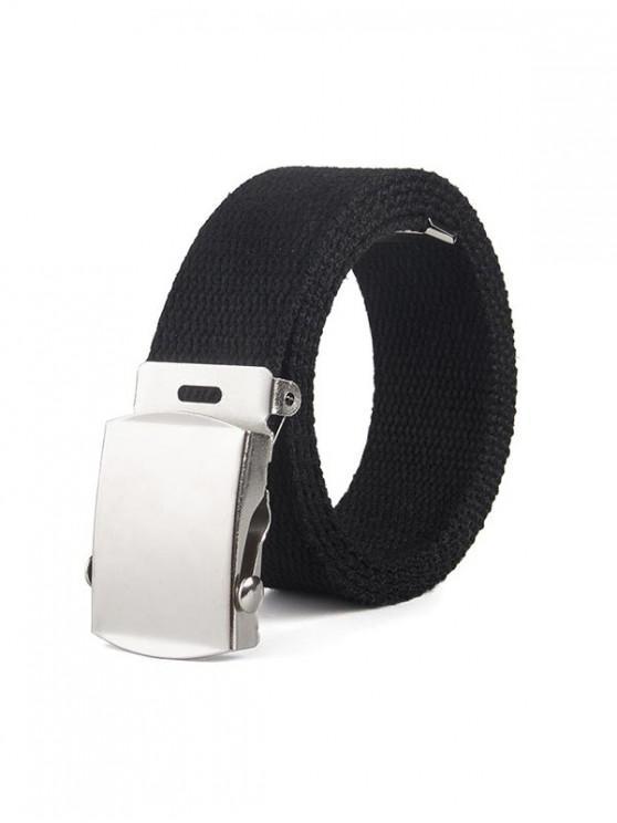 latest Solid Color Canvas Braid Belt - BLACK