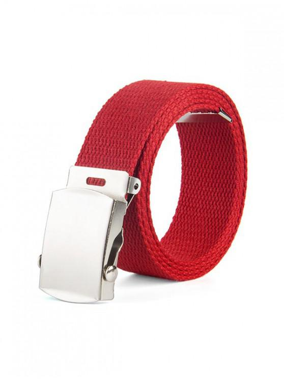 womens Solid Color Canvas Braid Belt - RED