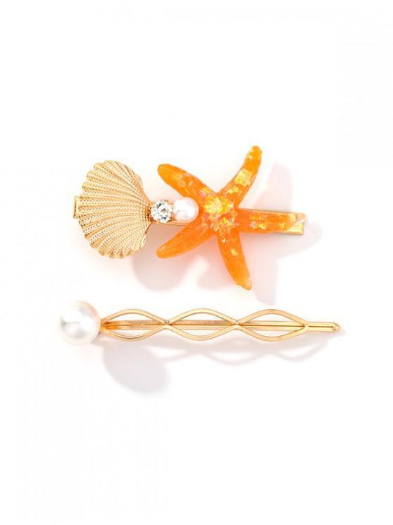 women's 2Pcs Starfish Shell Hairgrip Set - DARK ORANGE