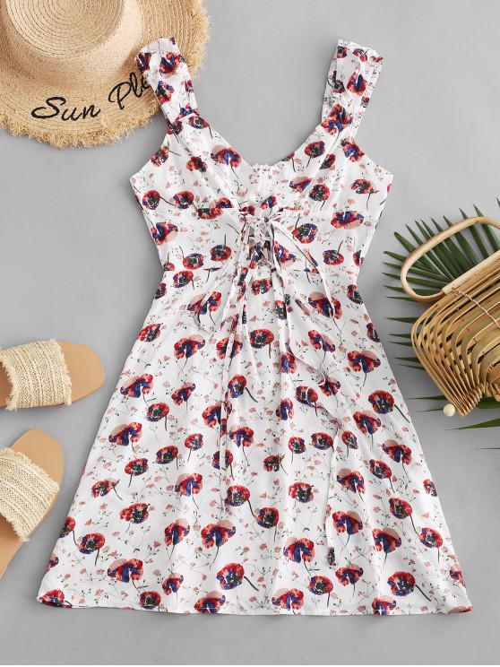 chic ZAFUL Flower Print Lace Up Tunic Short Dress - WHITE S