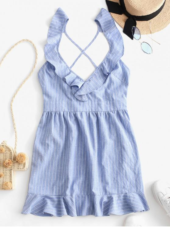 latest ZAFUL Striped Plunge Cross Back Ruffled Dress - BLUE KOI S