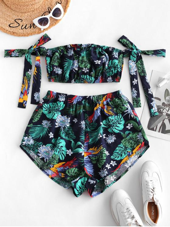 outfit ZAFUL Tropical Flower Leaf Print Crop Top and Shorts Set - MULTI-P L