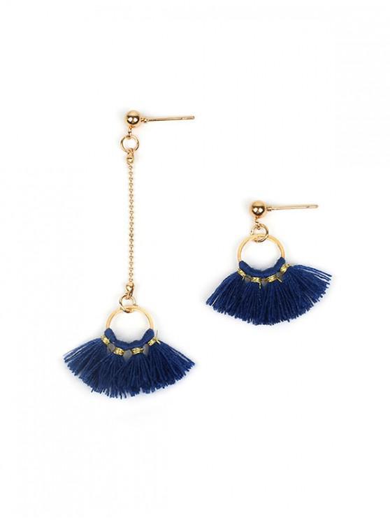 online Asymmetric Circle Tassel Earrings - DENIM DARK BLUE