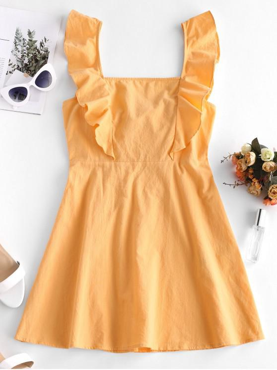 shop ZAFUL Square Neck Ruffled Neon Knotted Backless Dress - SAFFRON L