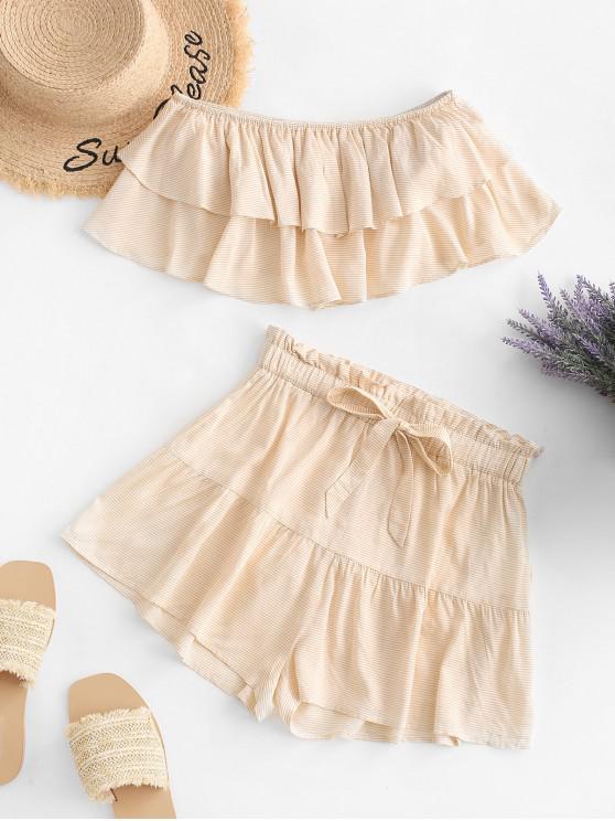 Top corto sin tirantes con volantes y mini pantalones cortos con estampado de rayas ZAFUL - Albaricoque S