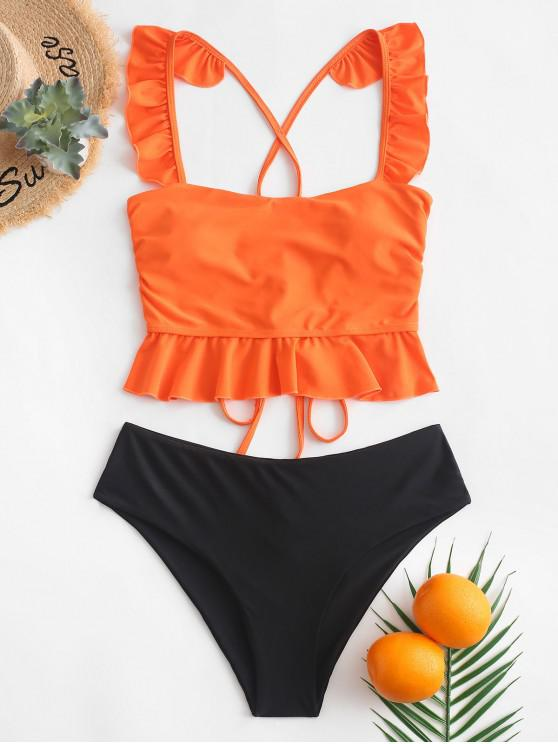 chic ZAFUL Ruffle Crisscross Lace-up Tankini Swimsuit - PUMPKIN ORANGE S