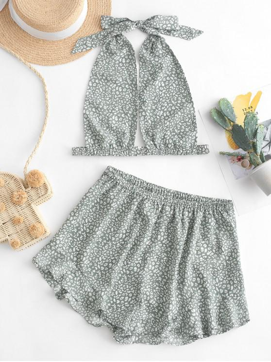 new ZAFUL Halter Ditsy Print Two Piece Shorts Set - PALE BLUE LILY M