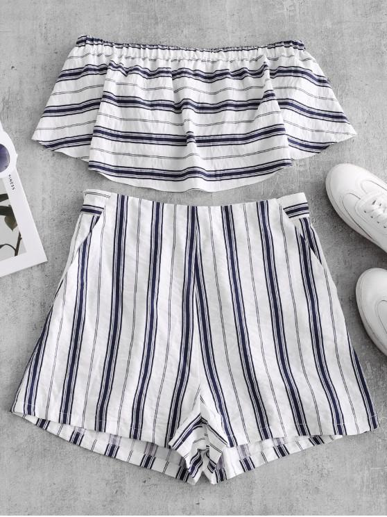 outfits ZAFUL Flounce Striped Bandeau Top and Pocket Shorts Set - WHITE S