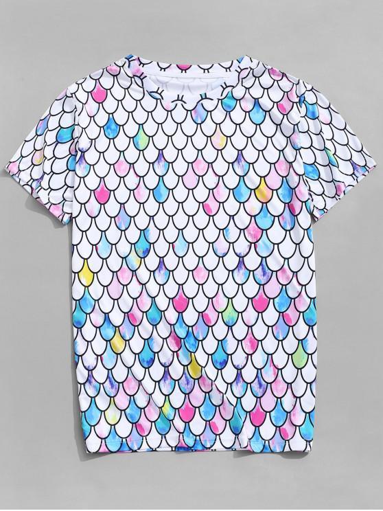 Pintura de colores sirena escalas imprimir camiseta casual - Multicolor-A 2XL