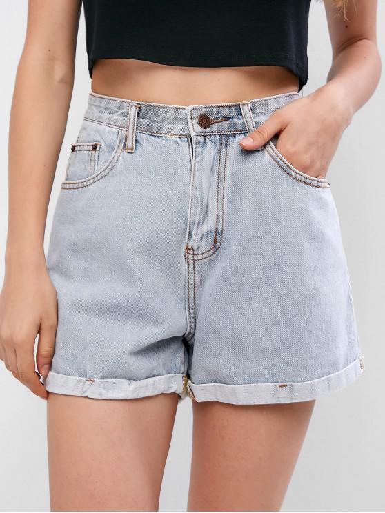 online Light Wash Rolled Hem Boyfriend Denim Shorts - JEANS BLUE S