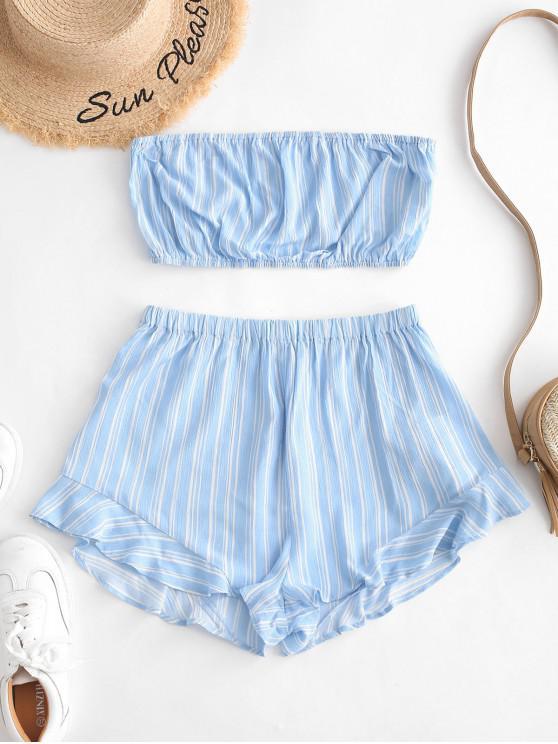 women's ZAFUL Stripe Print Tube Top and Mini Shorts Set - SKY BLUE M
