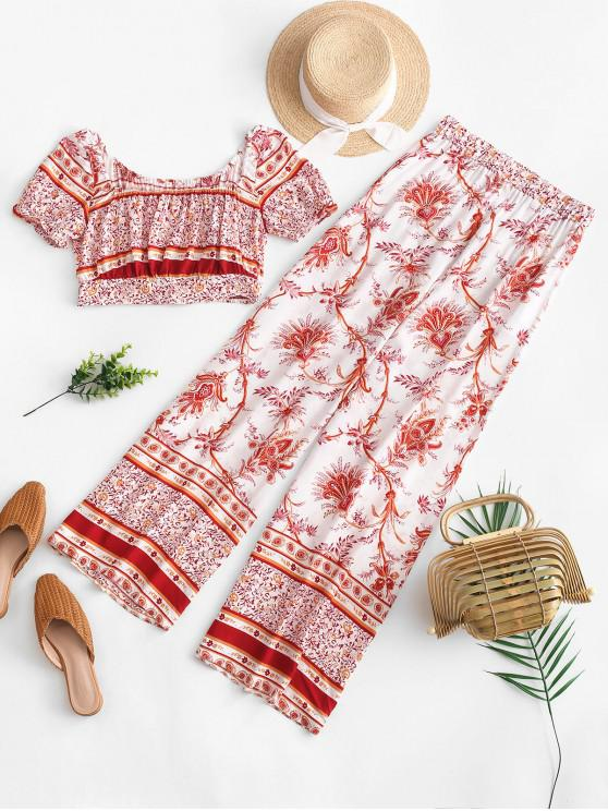 shops ZAFUL Printed Wide Leg Palazzo Twp Piece Pants Set - VALENTINE RED S