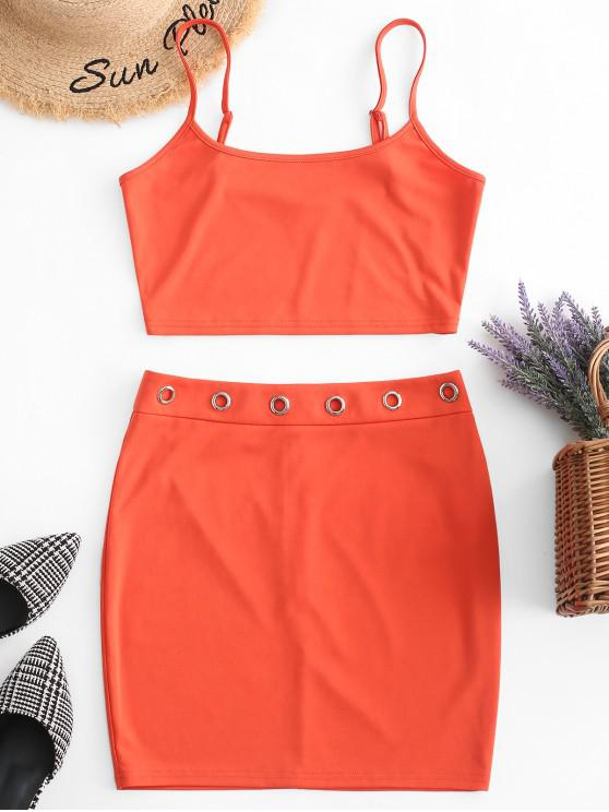 unique ZAFUL Crop Cami Top and Eyelet Skirt Set - PUMPKIN ORANGE M