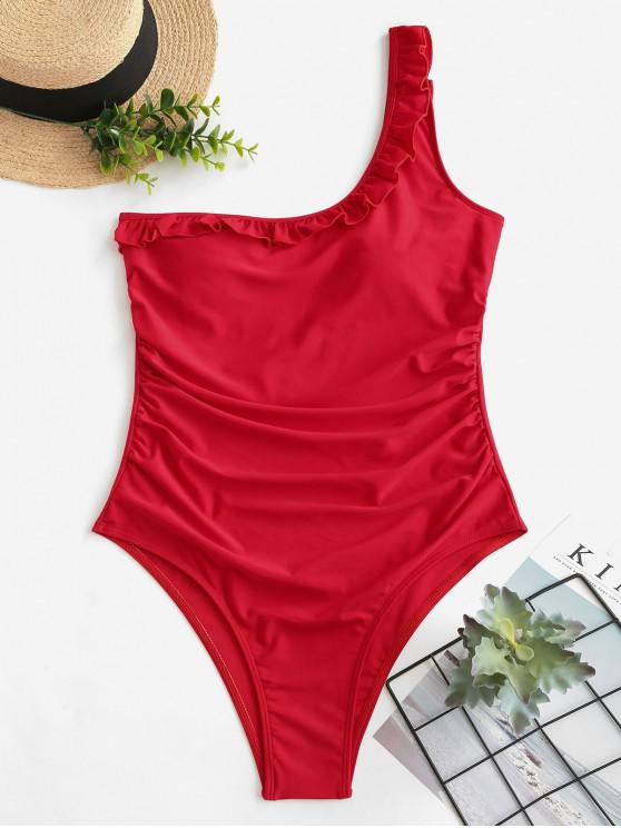 shop ZAFUL Ruffle One Shoulder Tummy Control Swimsuit - RED S