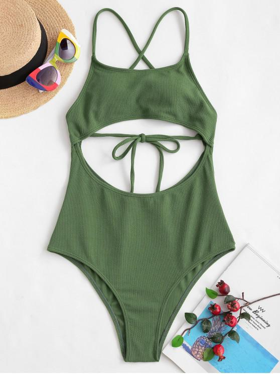 new ZAFUL Ribbed Criss Cross Backless Monokini Swimsuit - CAMOUFLAGE GREEN L